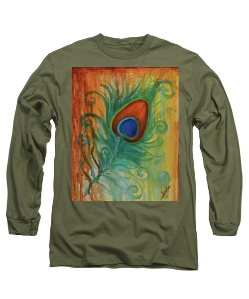 Long Sleeve T-Shirt featuring the painting Peacock Feather by Agata Lindquist