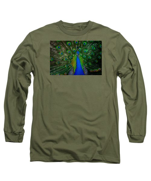Long Sleeve T-Shirt featuring the photograph Peacock by Harry Spitz