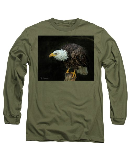 Perched Bald Eagle Long Sleeve T-Shirt by CR Courson