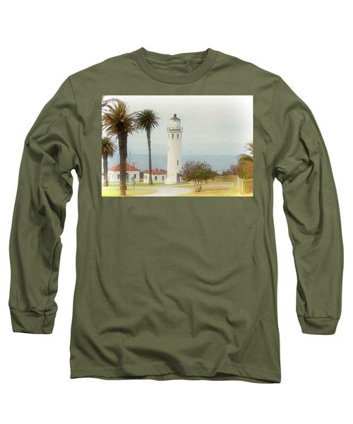 Point Vincente Lighthouse, California In Retro Style Long Sleeve T-Shirt