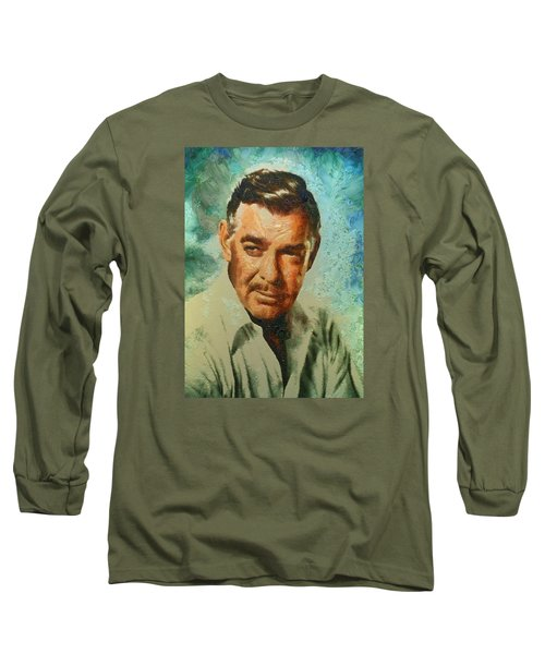 Portrait Of Clark Gable Long Sleeve T-Shirt by Charmaine Zoe
