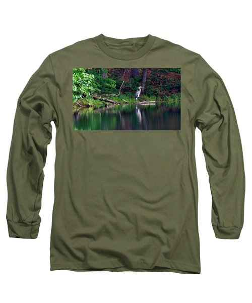 Posing Great Blue Heron  Long Sleeve T-Shirt