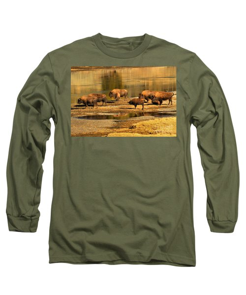 Long Sleeve T-Shirt featuring the photograph Gathering To Cross The Yellowstone River by Adam Jewell