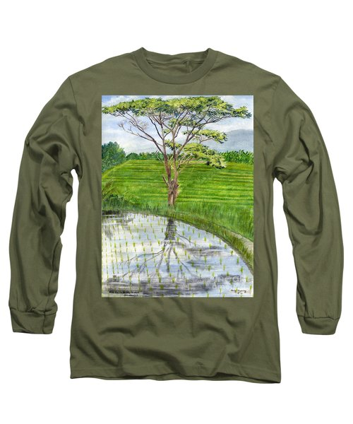 Long Sleeve T-Shirt featuring the painting Rain Tree On The Way To Ubud Bali Indonesia by Melly Terpening