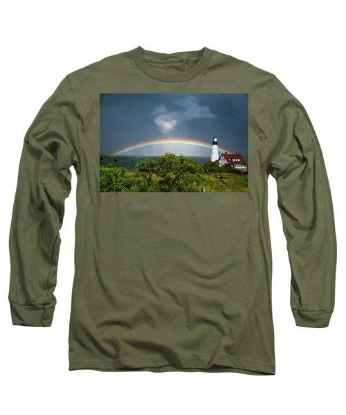 Rainbow At Portland Headlight Long Sleeve T-Shirt