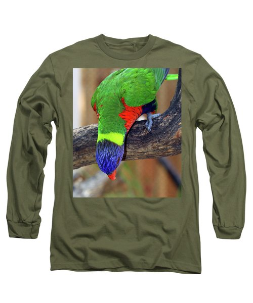 Rainbow Lorikeet Long Sleeve T-Shirt by Inspirational Photo Creations Audrey Woods