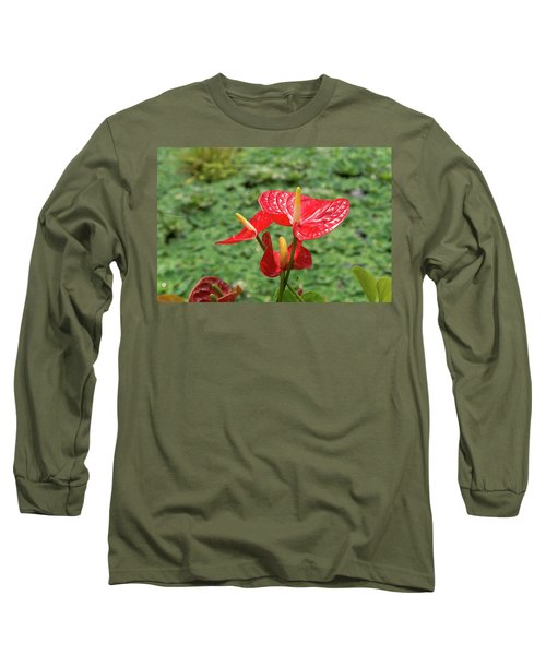 Red Anthurium Flower Long Sleeve T-Shirt by Hans Engbers