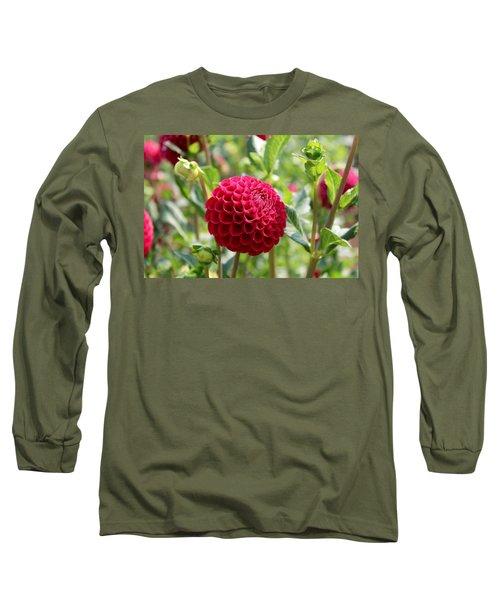 Red  Dahlia Long Sleeve T-Shirt