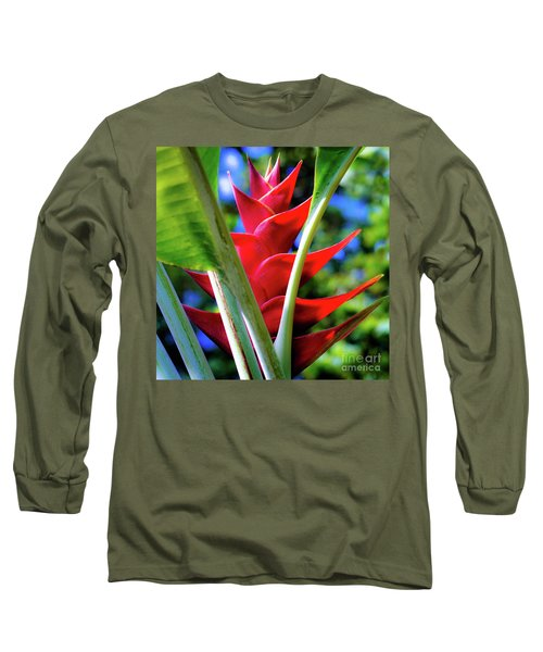 Red Heliconia Hawaii Long Sleeve T-Shirt