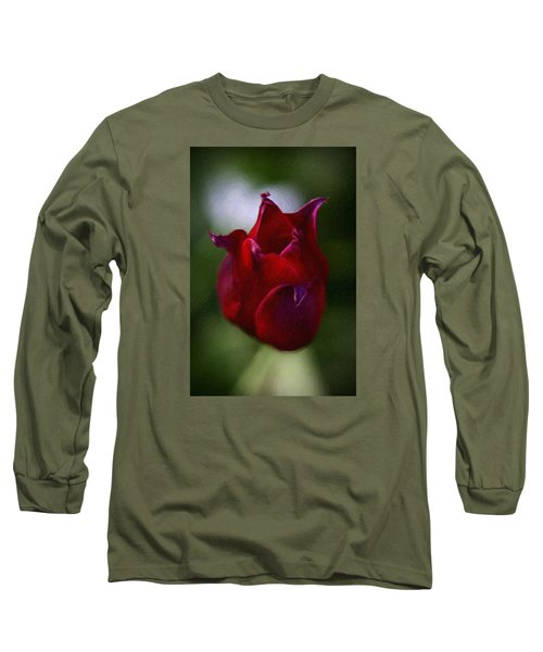 Red Rose Long Sleeve T-Shirt by Andre Faubert