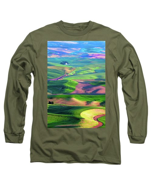 Green Hills Of The Palouse Long Sleeve T-Shirt by James Hammond