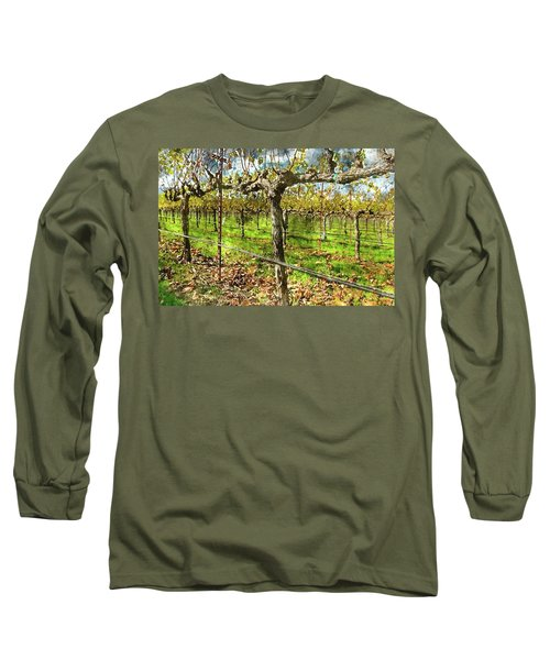 Rows Of Grapevines In Napa Valley Caliofnia Long Sleeve T-Shirt