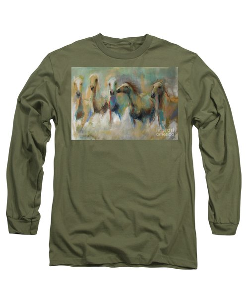 Long Sleeve T-Shirt featuring the pastel Running With The Palominos by Frances Marino