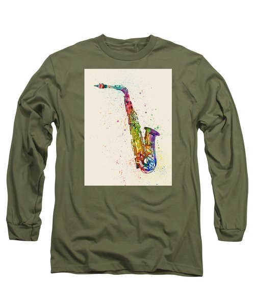 Saxophone Abstract Watercolor Long Sleeve T-Shirt