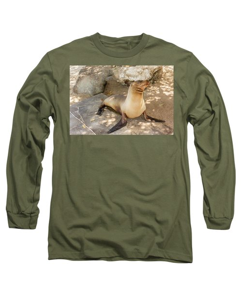 Sea Lion On The Beach, Galapagos Islands Long Sleeve T-Shirt by Marek Poplawski