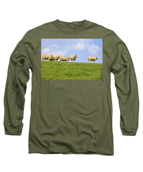 Long Sleeve T-Shirt featuring the photograph Sheep On Dyke by Patricia Hofmeester