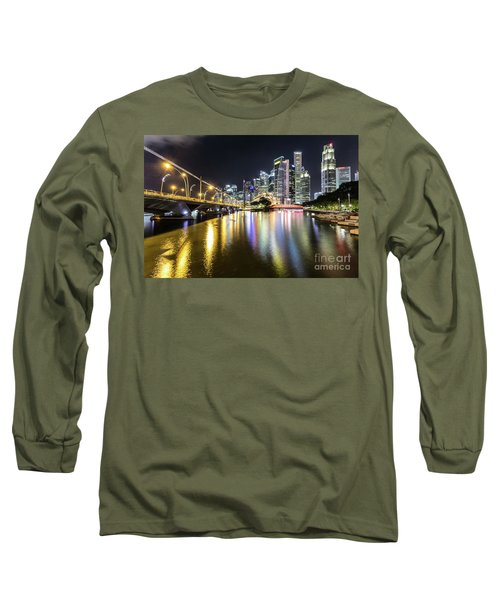 Singapore River At Night With Financial District In Singapore Long Sleeve T-Shirt