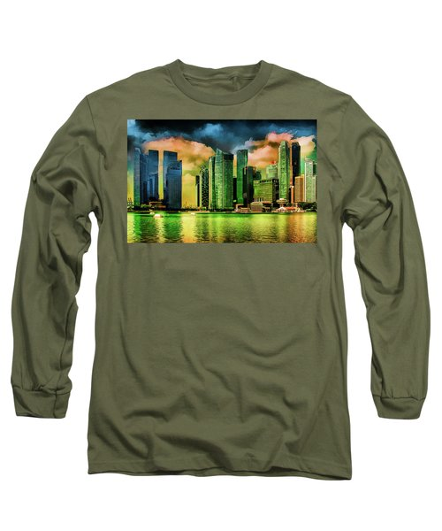 Singapore Skyline Long Sleeve T-Shirt by Joseph Hollingsworth
