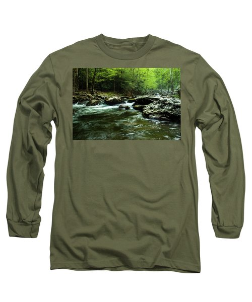 Long Sleeve T-Shirt featuring the photograph Smoky Mountain River by Jay Stockhaus