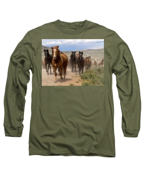 Sombrero Ranch Horse Drive, An Annual Event In Maybell, Colorado Long Sleeve T-Shirt