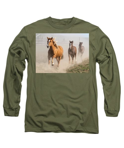 Sombrero Ranch Horse Drive At The Corrals Long Sleeve T-Shirt