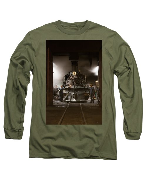 Long Sleeve T-Shirt featuring the photograph Steam Locomotive In The Roundhouse Of The Durango And Silverton Narrow Gauge Railroad In Durango by Carol M Highsmith