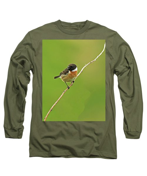 Long Sleeve T-Shirt featuring the photograph Stonechat by Paul Scoullar