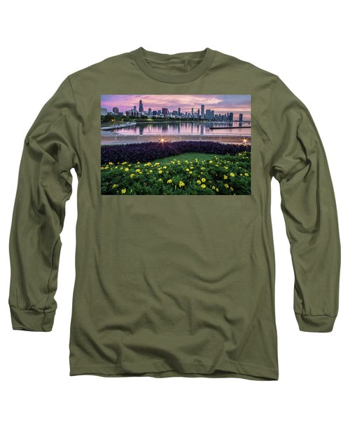 summer flowers and Chicago skyline Long Sleeve T-Shirt