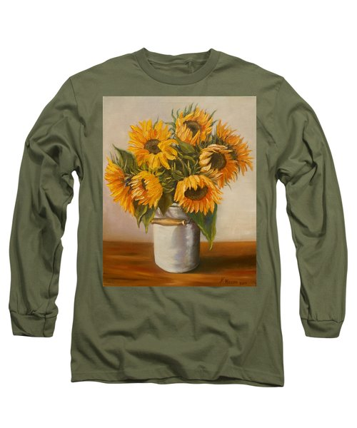 Long Sleeve T-Shirt featuring the painting Sunflowers by Nina Mitkova