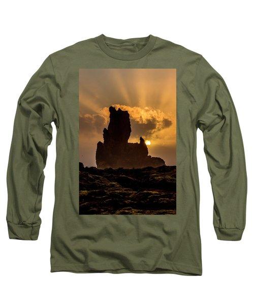 Sunset Over Cliffside Landscape Long Sleeve T-Shirt