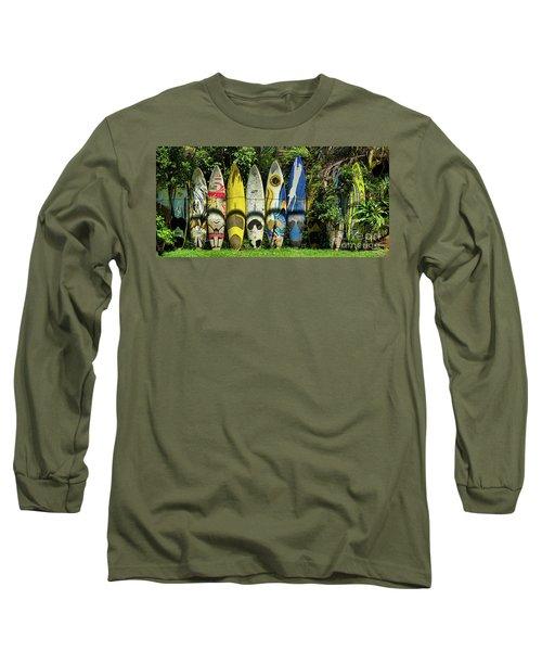 Surfboard Fence Maui Hawaii Long Sleeve T-Shirt by Peter Dang