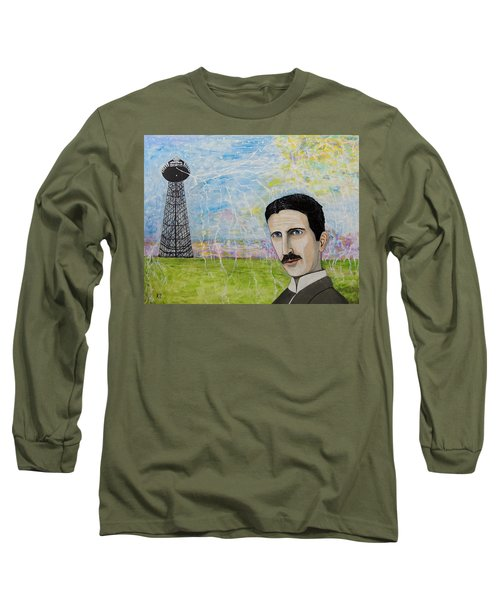 Long Sleeve T-Shirt featuring the painting Tesla's Tower. by Ken Zabel