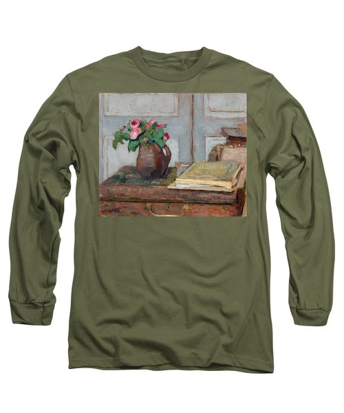 The Artist's Paint Box And Moss Roses Long Sleeve T-Shirt