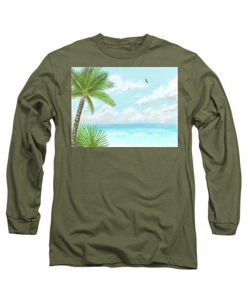 Long Sleeve T-Shirt featuring the digital art The Beach by Darren Cannell