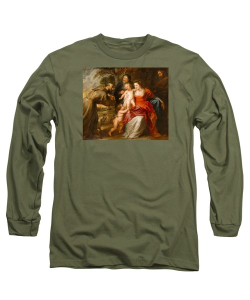 Long Sleeve T-Shirt featuring the painting The Holy Family With Saints Francis And Anne And The Infant Saint John The Baptist by Peter Paul Rubens