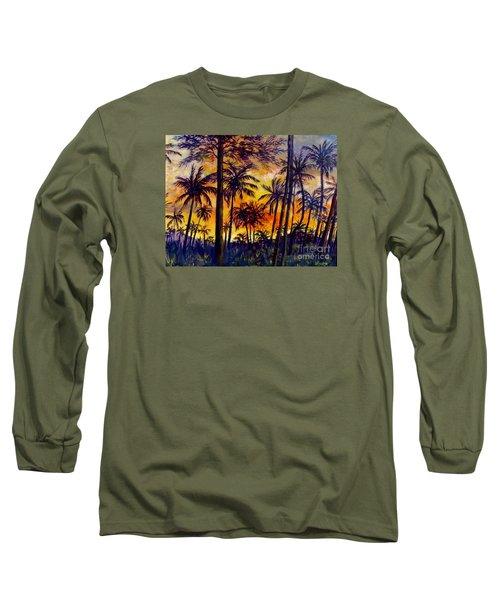 Tropical Sunset Long Sleeve T-Shirt by Lou Ann Bagnall