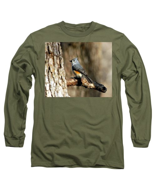 Tufted Titmouse On Branch Long Sleeve T-Shirt