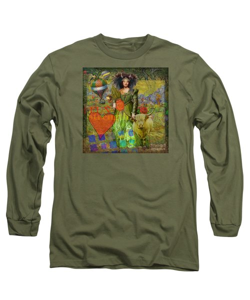 Vintage Taurus Gothic Whimsical Collage Woman Fantasy Long Sleeve T-Shirt by Mary Hubley