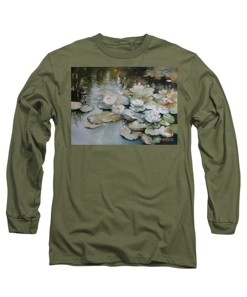 Long Sleeve T-Shirt featuring the painting Waterlilies by Elena Oleniuc