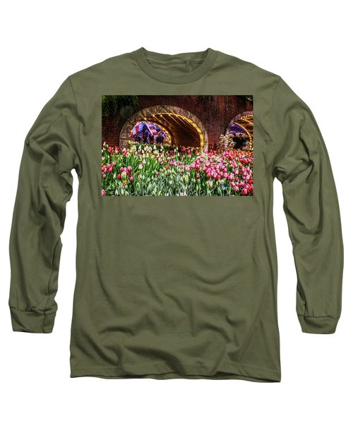 Welcoming Tulips Long Sleeve T-Shirt by Sandy Moulder