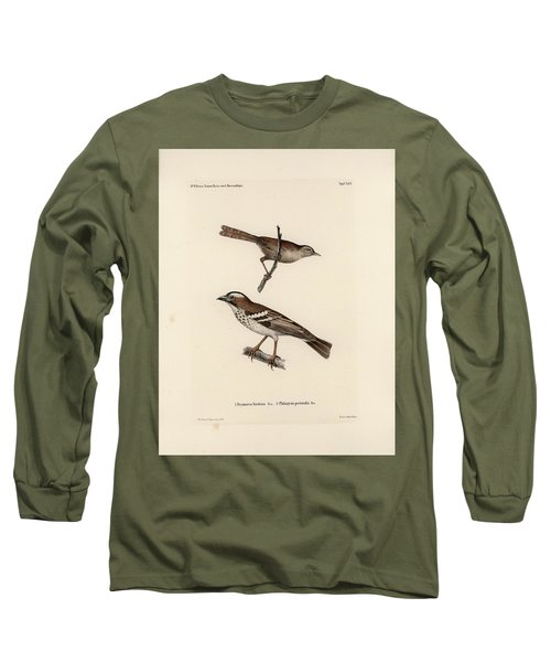 White-browed Sparrow-weaver And Grass Or Bush Warbler Long Sleeve T-Shirt by J D L Franz Wagner