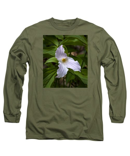 Long Sleeve T-Shirt featuring the photograph White Trillium by Tyson and Kathy Smith