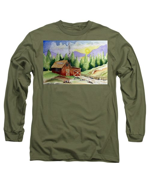 Wilderness Cabin Long Sleeve T-Shirt by Jimmy Smith
