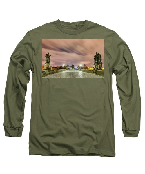 Winter Night At Charles Bridge, Prague, Czech Republic Long Sleeve T-Shirt