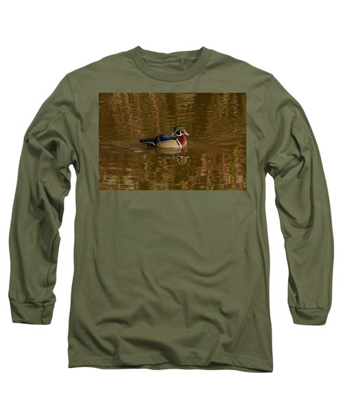 Wood Duck Long Sleeve T-Shirt by Jerry Cahill