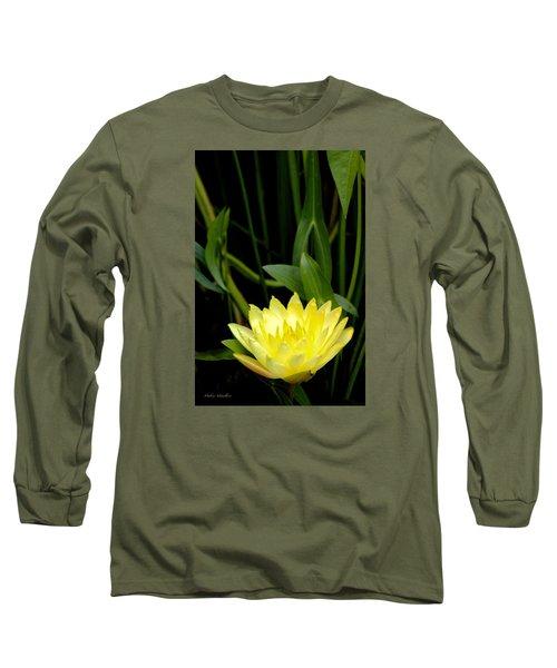 Yellow Lotus Long Sleeve T-Shirt by Debra     Vatalaro