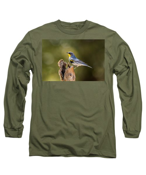 Yellow-rumped Warbler Long Sleeve T-Shirt by Tam Ryan