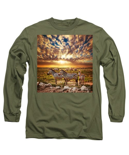 Zebras Herd On African Savanna At Sunset. Long Sleeve T-Shirt