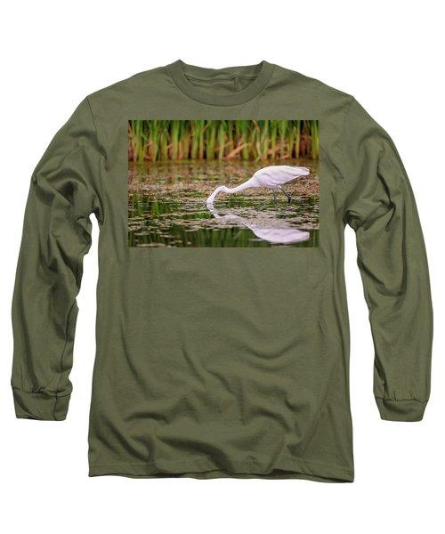 White, Great Egret Long Sleeve T-Shirt