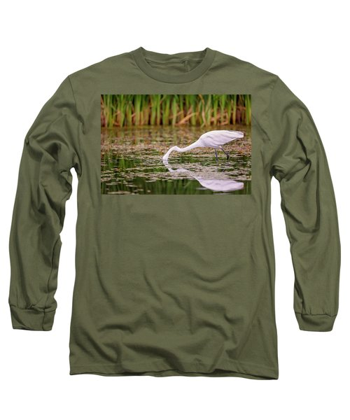 White, Great Egret Long Sleeve T-Shirt